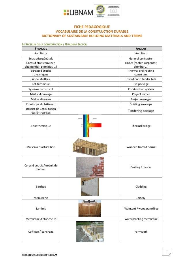 REDACTEURS : COLLECTIF LIBNAM 1 FICHE PEDAGOGIQUE VOCABULAIRE DE LA CONSTRUCTION DURABLE DICTIONARY OF SUSTAINABLE BUILDIN...