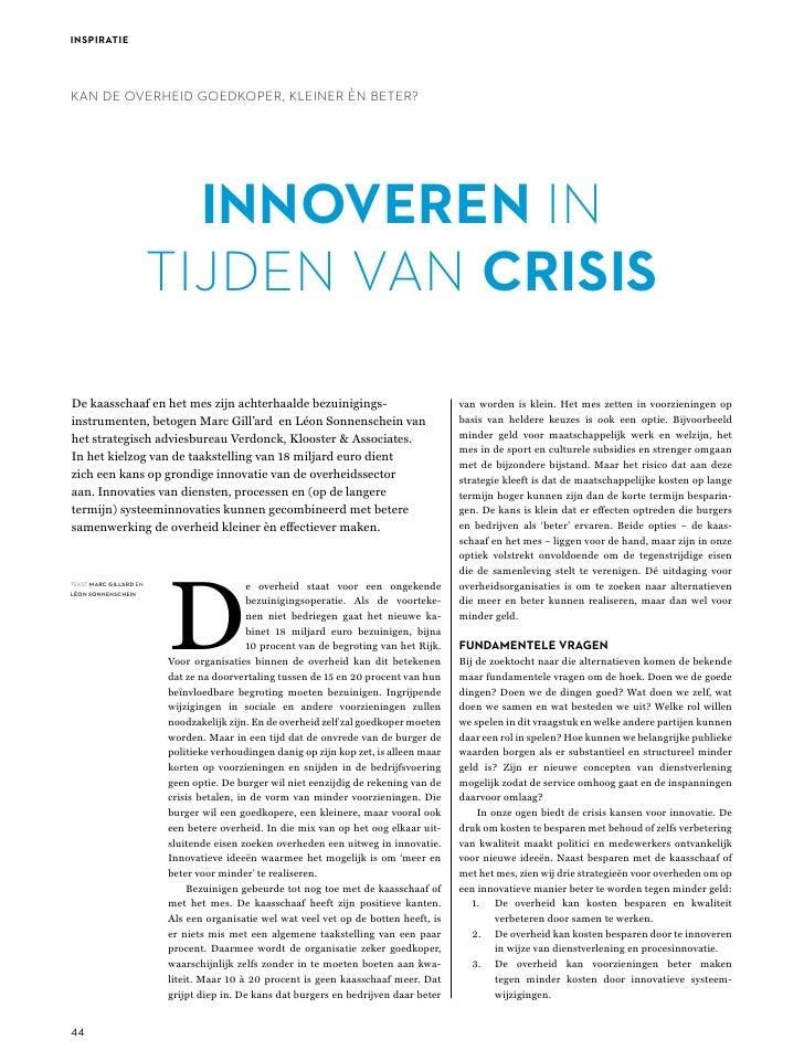 Vka   Innoveren In Tijdens Van Crisis Voor Tijdschrift Pm