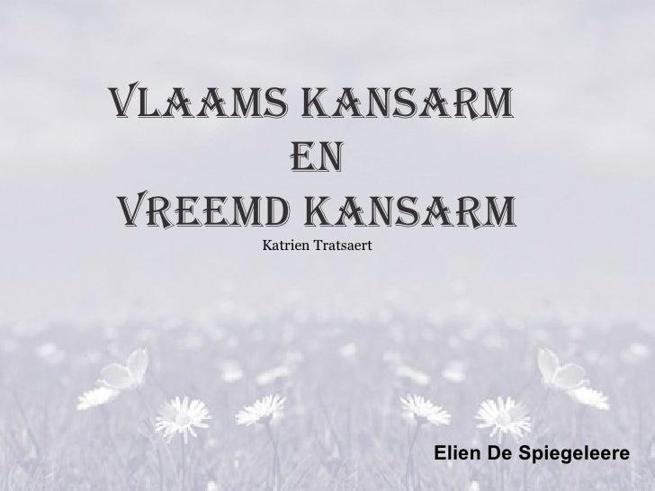 Vlaams kansarm  en Vreemd kansarm Katrien Tratsaert Elien De Spiegeleere