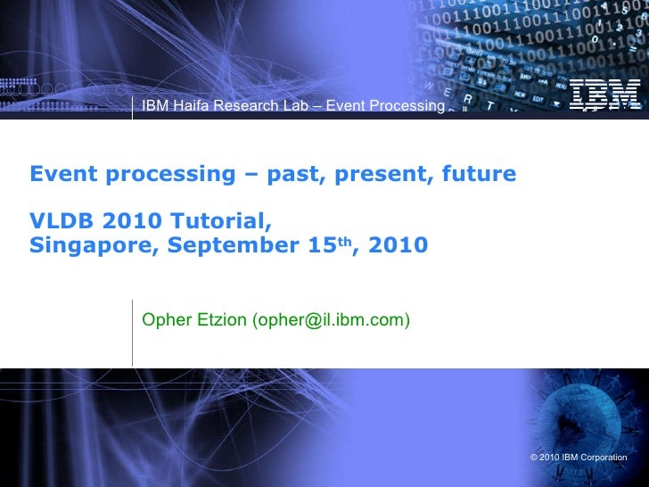 Event processing – past, present, future VLDB 2010 Tutorial,  Singapore, September 15 th , 2010  Opher Etzion (opher@il.ib...