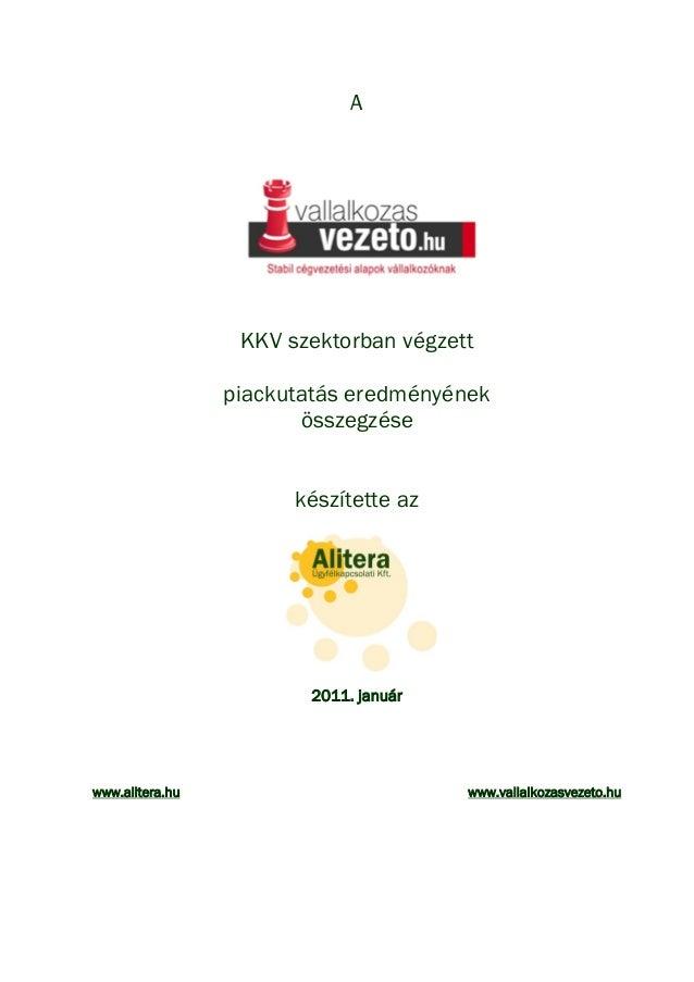 ALITERA - Vállalkozásvezető.hu piackutatása a magyar kkv körében