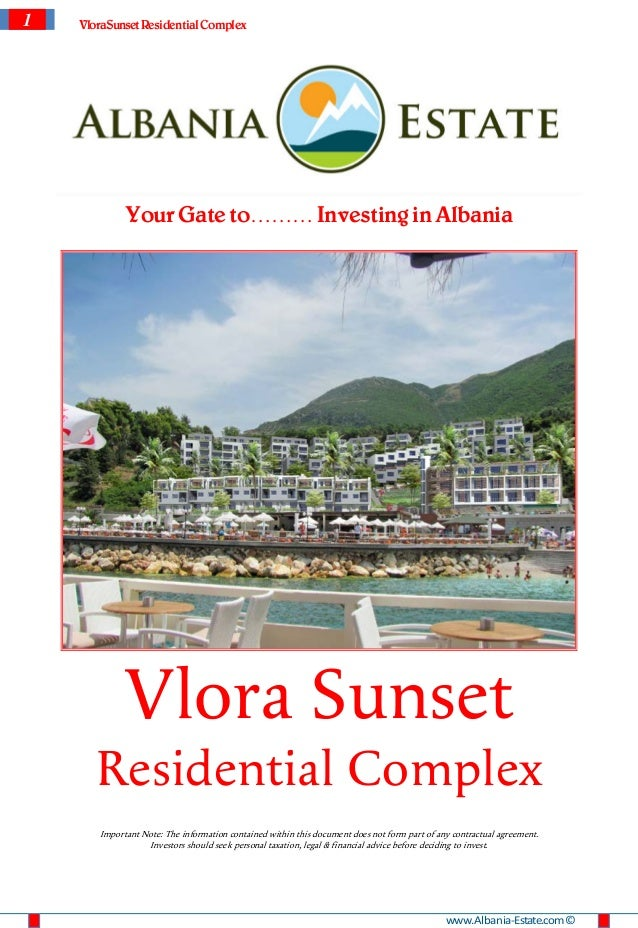 1   VloraSunset Residential Complex             Your Gate to……… Investing in Albania             Vlora Sunset       Reside...