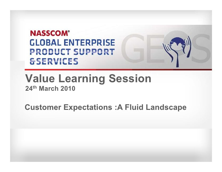 Value Learning Session 24th March 2010  Customer Expectations :A Fluid Landscape