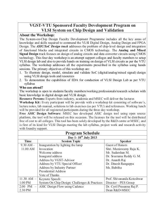 VGST-VTU Sponsored Faculty Development Program on VLSI System on Chip Design and Validation
