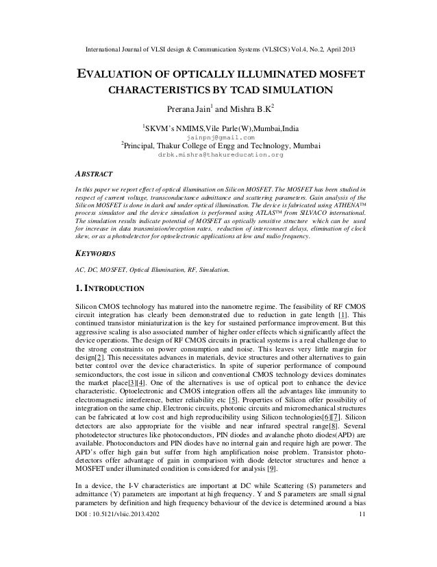 EVALUATION OF OPTICALLY ILLUMINATED MOSFET  CHARACTERISTICS BY TCAD SIMULATION