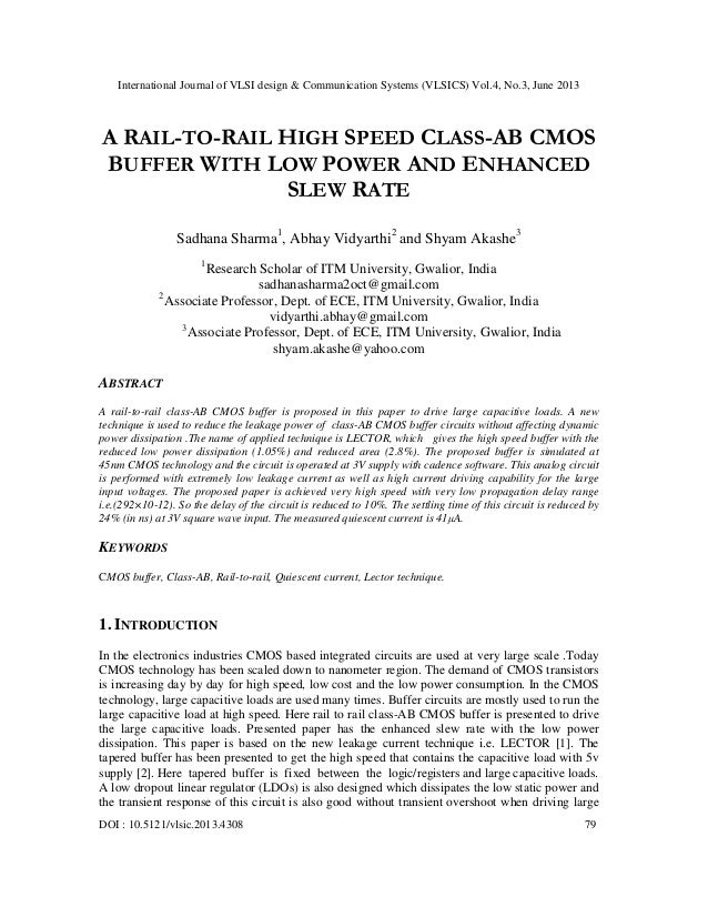 A RAIL-TO-RAIL HIGH SPEED CLASS-AB CMOS BUFFER WITH LOW POWER AND ENHANCED SLEW RATE
