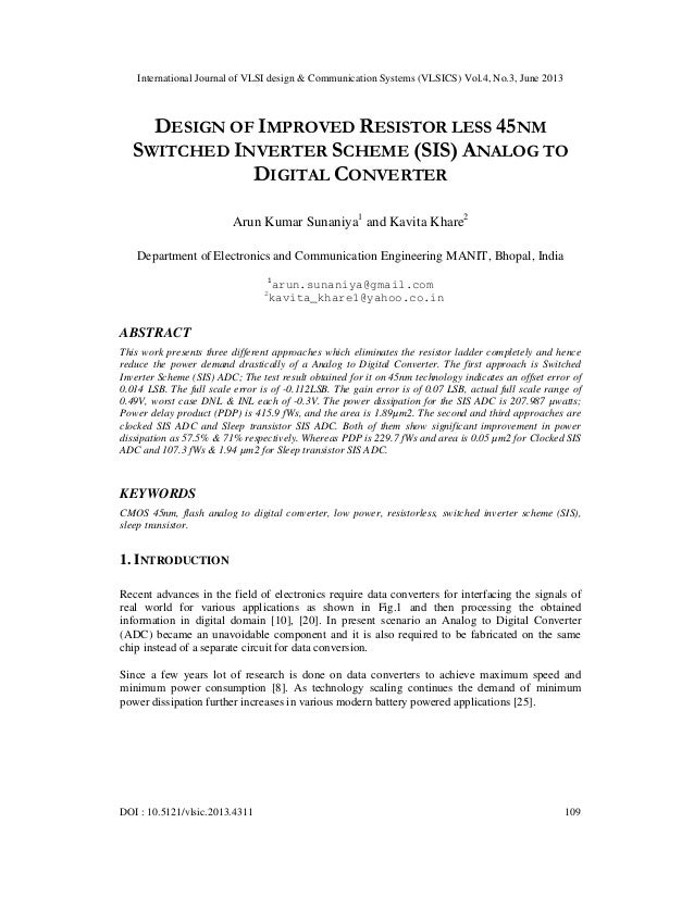 International Journal of VLSI design & Communication Systems (VLSICS) Vol.4, No.3, June 2013 DOI : 10.5121/vlsic.2013.4311...