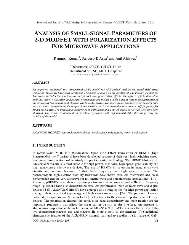 ANALYSIS OF SMALL-SIGNAL PARAMETERS OF 2-D MODFET WITH POLARIZATION EFFECTS FOR MICROWAVE APPLICATIONS