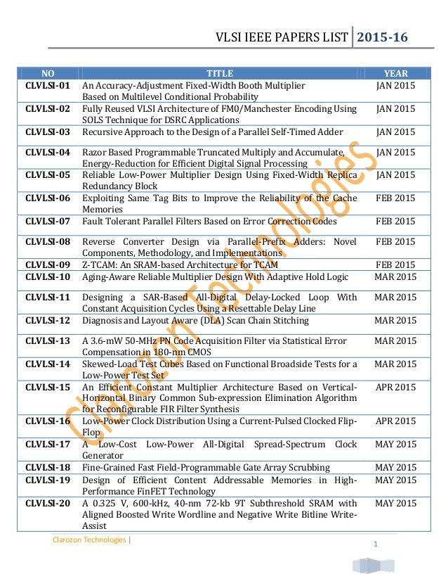 Vlsi research papers