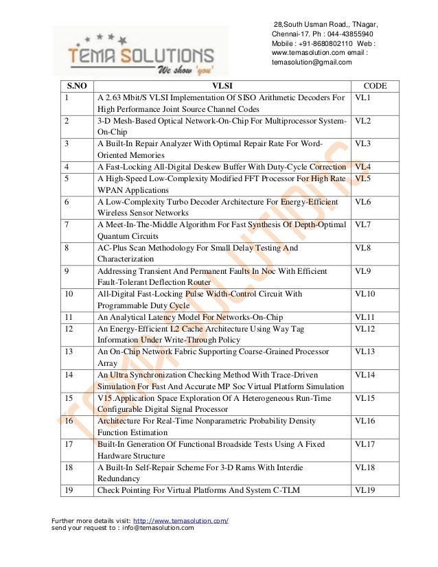2013 NEW PROJECT TITLES LIST FOR VLSI TITLES