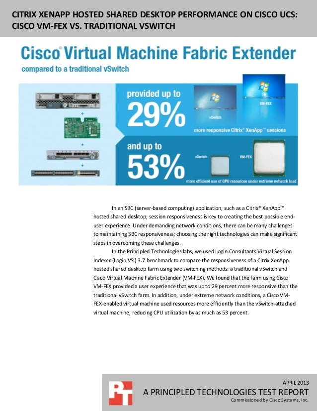 Citrix XenApp hosted shared desktop performance on Cisco UCS: Cisco VM-FEX vs. traditional vSwitch