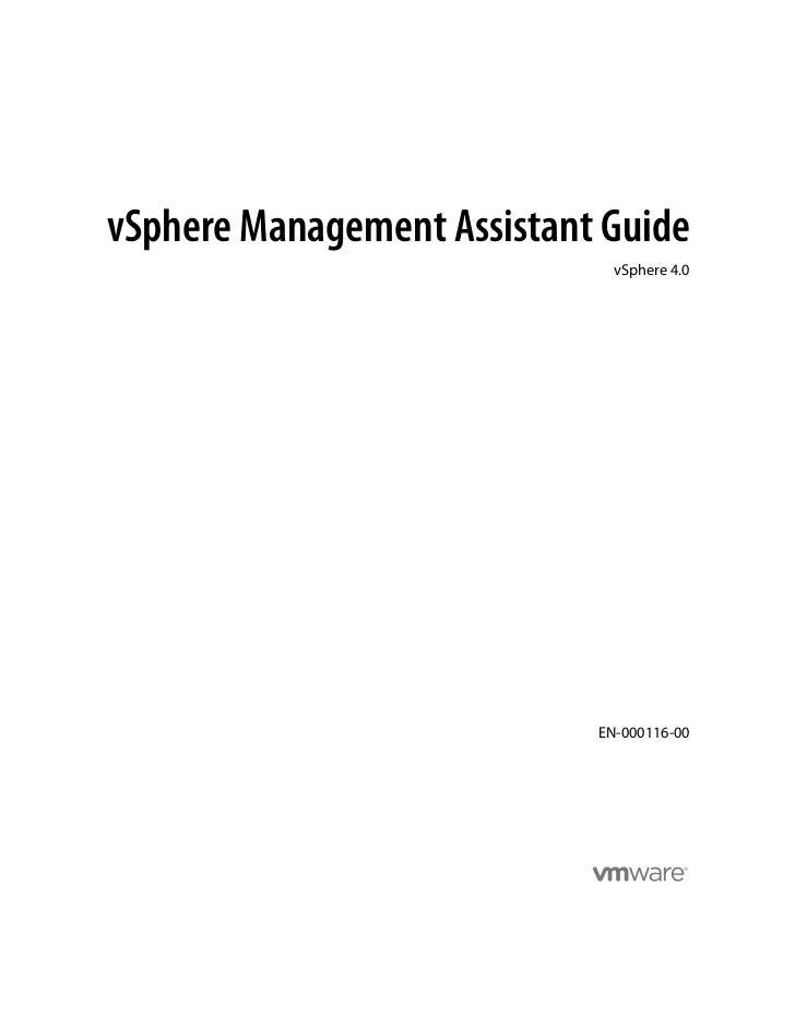 vSphere Management Assistant Guide                              vSphere 4.0                            EN-000116-00