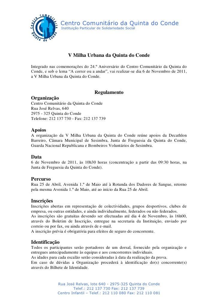 Centro Comunitário da Quinta do Conde                Instituição Particular de Solidariedade Social                    V M...