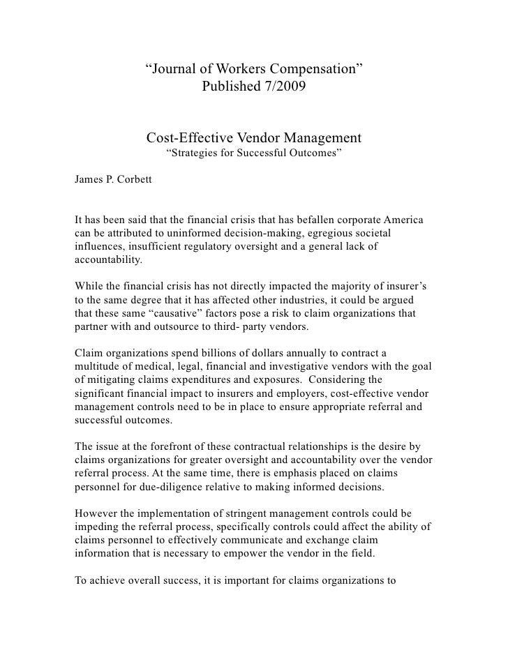 """""""Journal of Workers Compensation""""                         Published 7/2009                   Cost-Effective Vendor Managem..."""