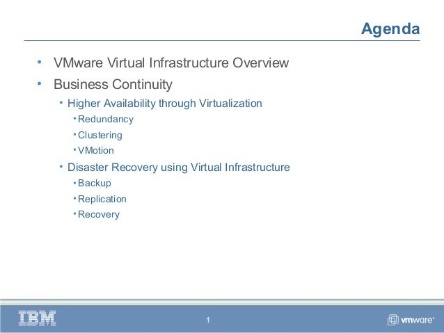 Agenda• VMware Virtual Infrastructure Overview• Business Continuity   • Higher Availability through Virtualization      • ...
