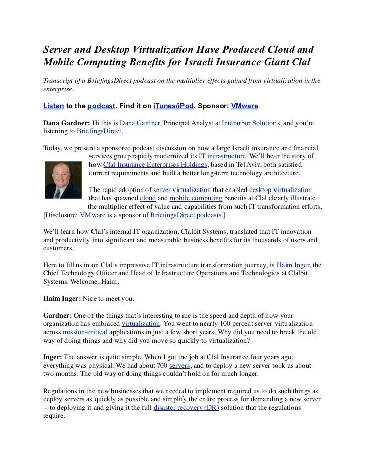 Server and Desktop Virtualization Have Produced Cloud andMobile Computing Benefits for Israeli Insurance Giant ClalTranscr...