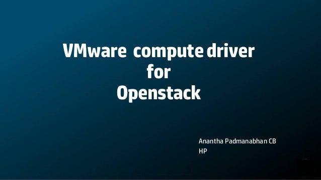VMware compute driver for OpenStack