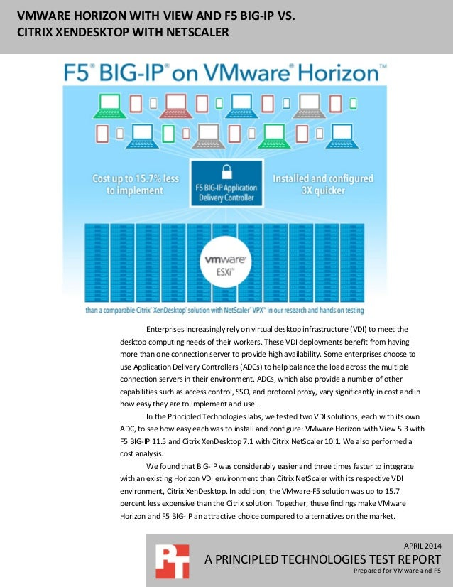 APRIL 2014 A PRINCIPLED TECHNOLOGIES TEST REPORT Prepared for VMware and F5 VMWARE HORIZON WITH VIEW AND F5 BIG-IP VS. CIT...