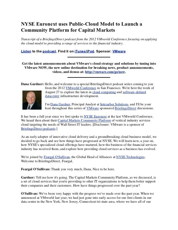 NYSE Euronext uses Public-Cloud Model to Launch a Community Platform for Capital Markets
