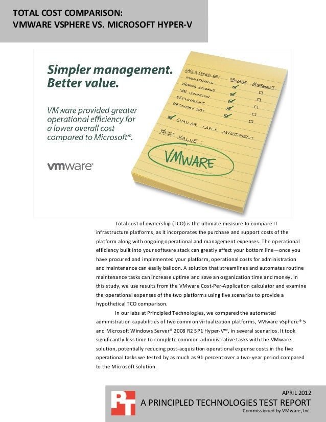 TOTAL COST COMPARISON:VMWARE VSPHERE VS. MICROSOFT HYPER-V                        Total cost of ownership (TCO) is the ult...