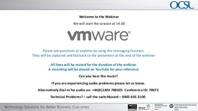 OCSL - VMware, vSphere Webinar May 2013