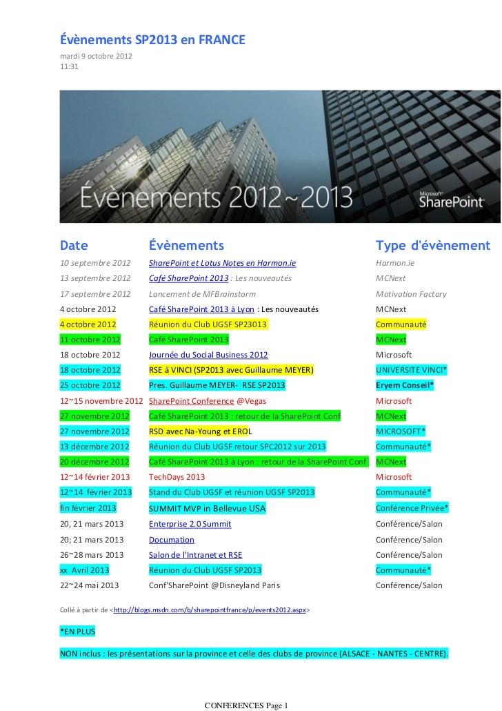 Évènements SP2013 en FRANCEmardi 9 octobre 201211:31Date                       Évènements                                 ...