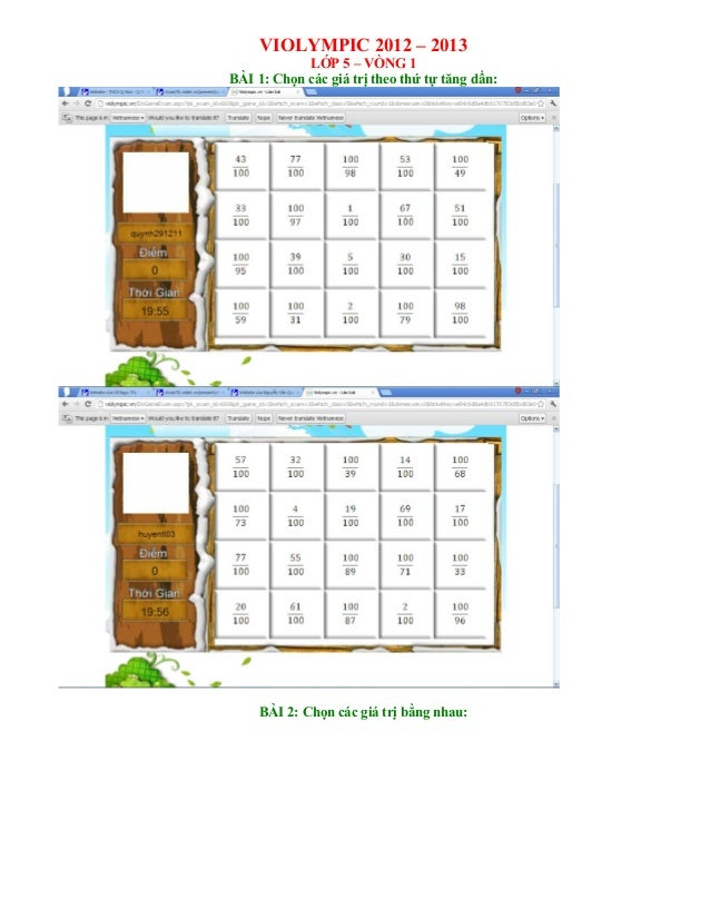Thi Violympic Giải toán trên mạng Lớp 5 - Vòng 1 - năm học 2012 - 2013