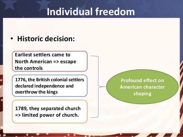 americas freedom essay View this essay on how has idea of freedom changed in america freedom is an extremely important aspect of american culture history and identity the european.