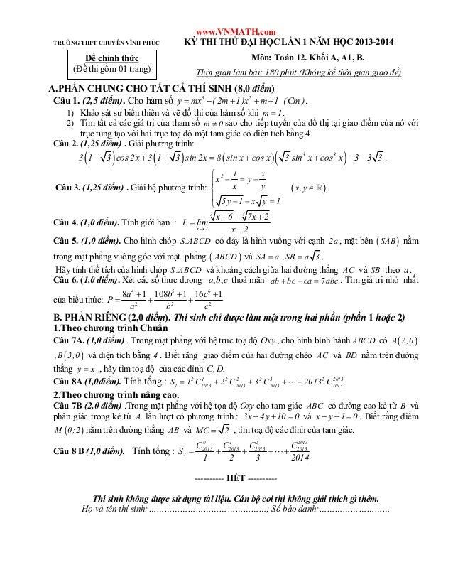 Đề thi thử ĐH Toán Chuyên Vĩnh Phúc 2014 - Khối A, B - Lần 1