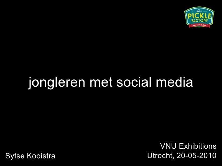 <ul><li>jongleren met social media </li></ul>Sytse Kooistra VNU Exhibitions Utrecht, 20-05-2010
