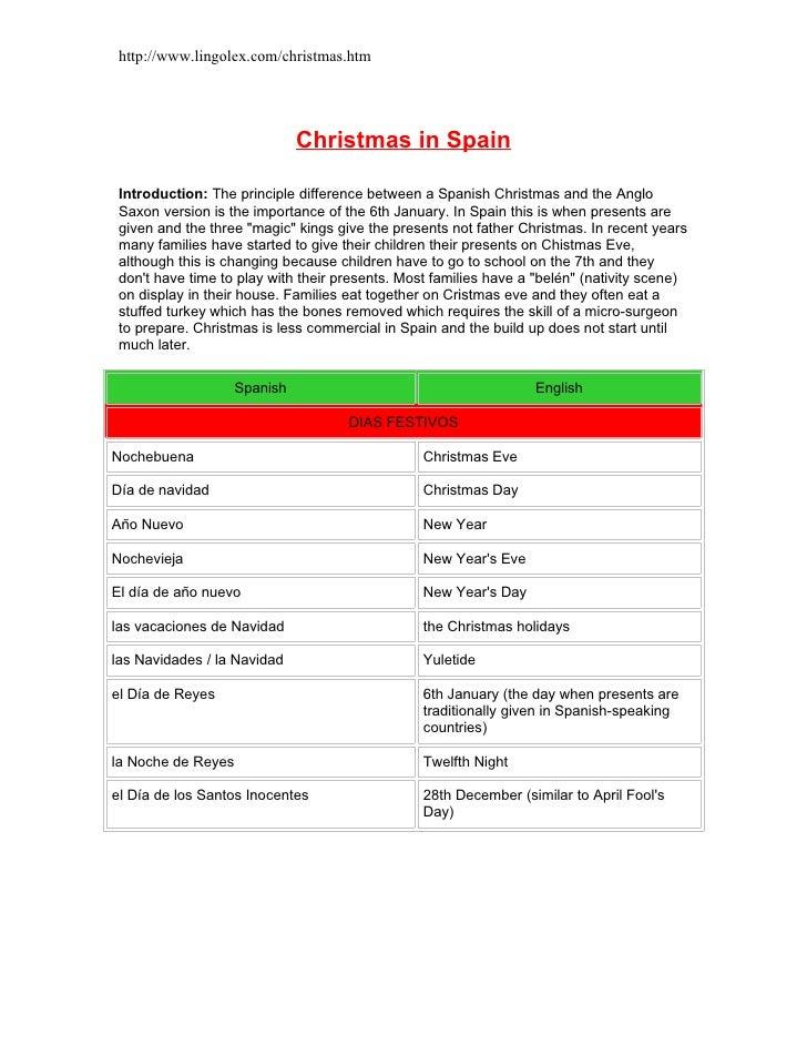 http://www.lingolex.com/christmas.htm                                   Christmas in Spain   Introduction: The principle d...