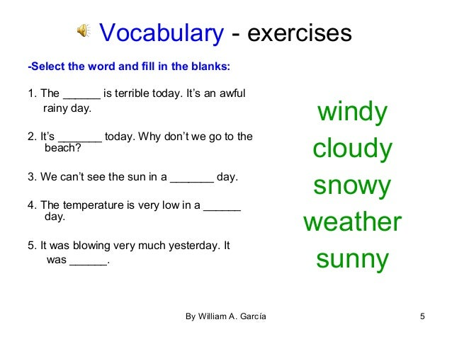 Vocab. the weather. n.p.