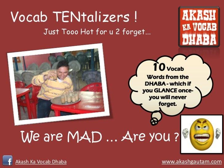 Vocab TENtalizers !          Just Tooo Hot for u 2 forget...                                            10 Vocab          ...