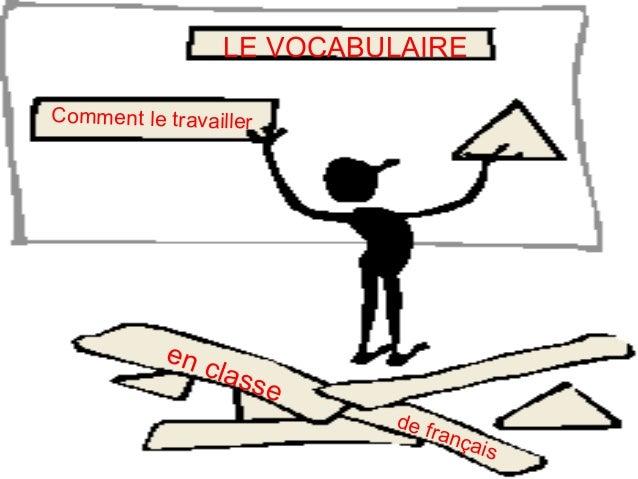 LE VOCABULAIRE Comment le travailler de français en classe