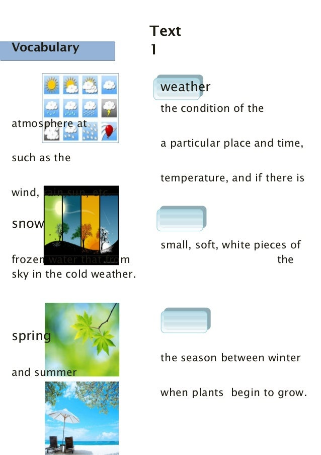 Vocabulary  Text 1  Vocabulary  weather the condition of the atmosphere at a particular place and time, such as the temper...