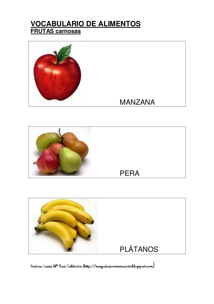 Vocabulario alimentos frutas for Lista de comida en frances