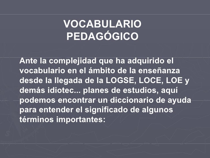 Vocabulario pedagógico