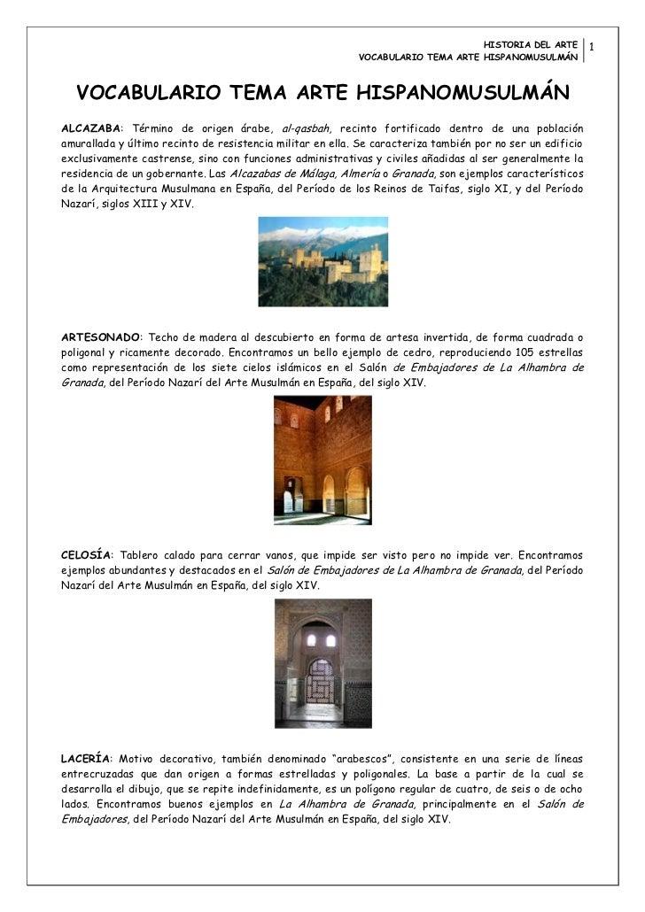 HISTORIA DEL ARTE          1                                                           VOCABULARIO TEMA ARTE HISPANOMUSULM...