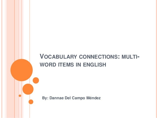 VOCABULARY CONNECTIONS: MULTI-WORD ITEMS IN ENGLISHBy: Dannae Del Campo Méndez