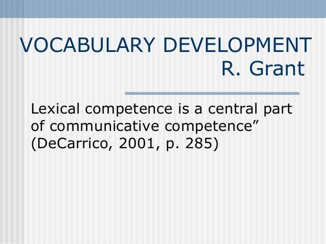 Vocabulary Development - Dr. Grant - GMU