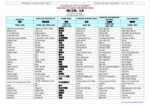 Vocabulary list stationery   词汇目录文具 - danh mục từ vựng văn phòng phẩm