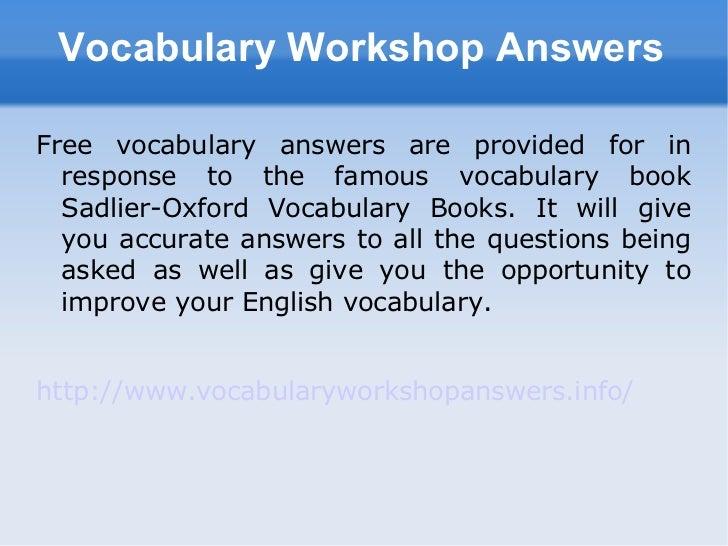 level d vocabulary workshop answers