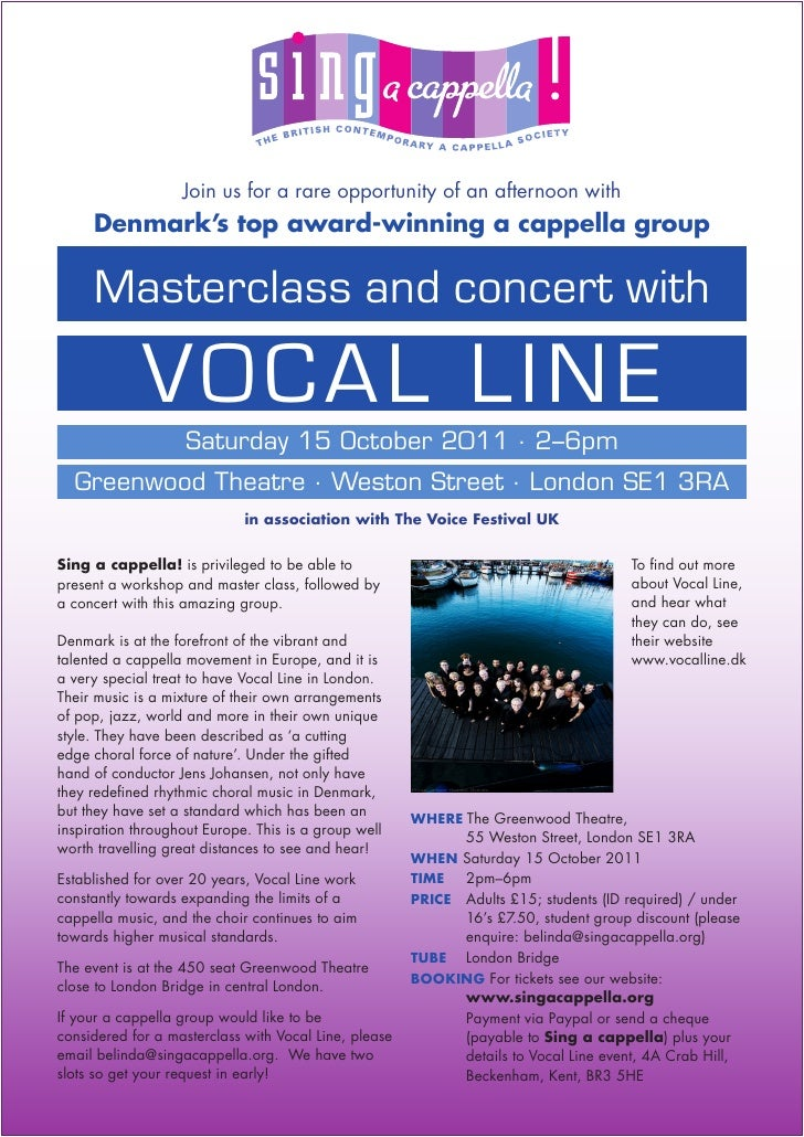 Join us for a rare opportunity of an afternoon with     Denmark's top award-winning a cappella group     Masterclass and c...