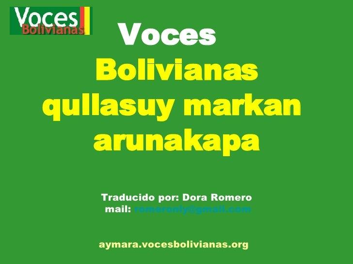 Voces bolivianas traducido aymara