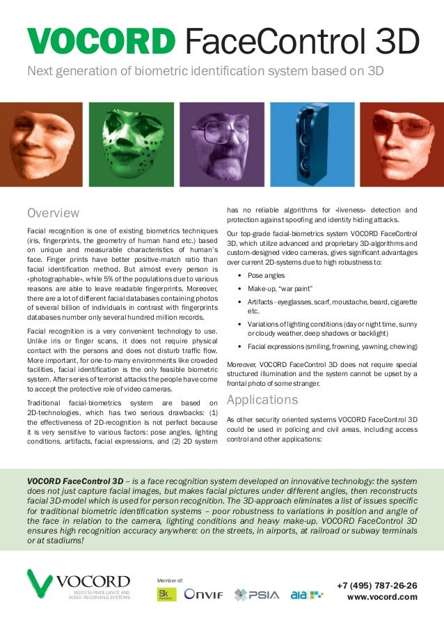 VOCORD FaceControl 3DNext generation of biometric identification system based on 3D                                       ...