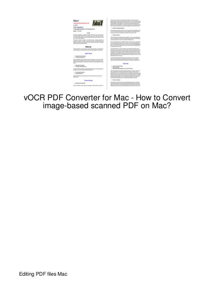 vOCR PDF Converter for Mac - How to Convert      image-based scanned PDF on Mac?Editing PDF files Mac