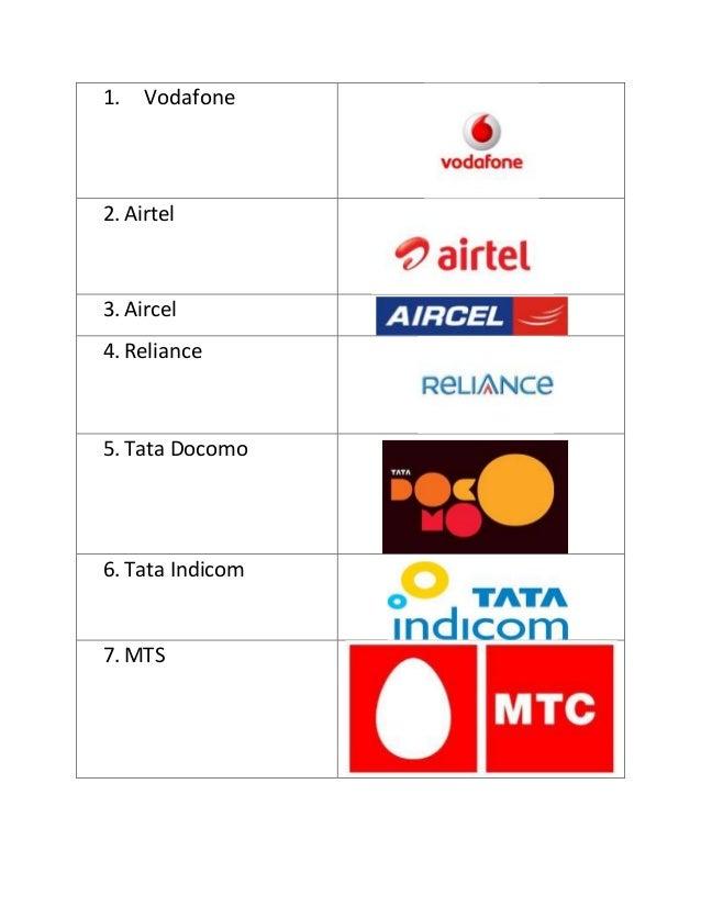 1.   Vodafone2. Airtel3. Aircel4. Reliance5. Tata Docomo6. Tata Indicom7. MTS