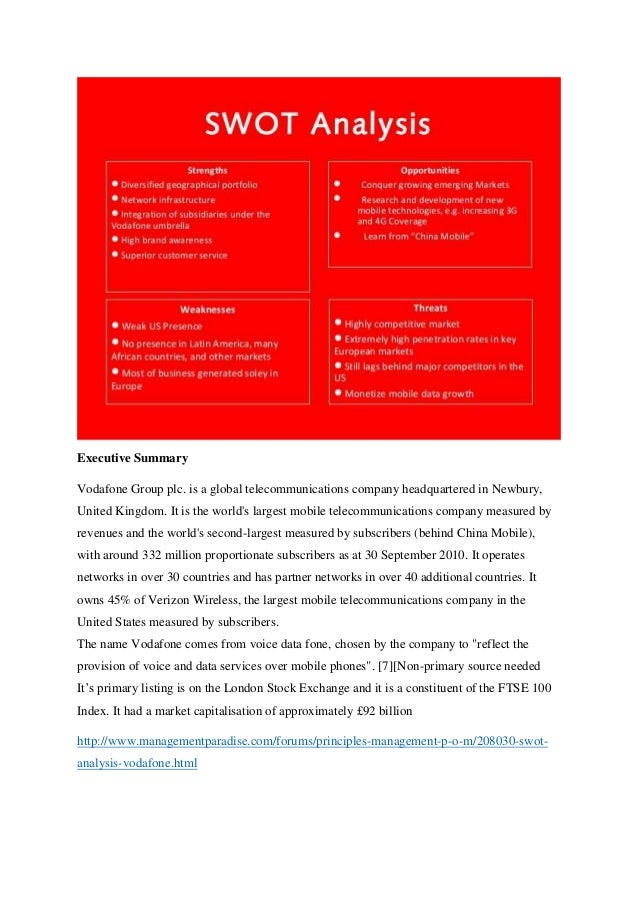 Vodafone swot analysis essay