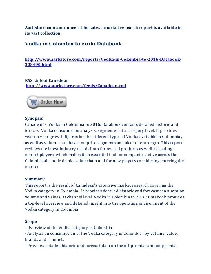 Vodka in colombia to 2016 databook