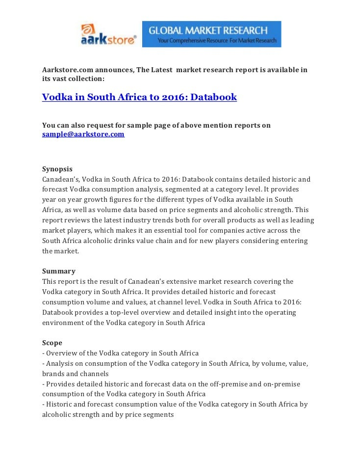 Vodka in south africa to 2016 databook